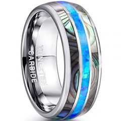 COI Tungsten Carbide Ring With Abalone Shell & Crushed Opal-TG4549