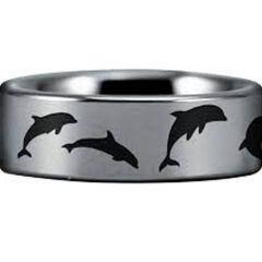 COI Tungsten Carbide Dolphin Pipe Cut Flat Ring - TG4554