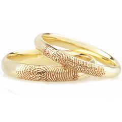 COI Gold Tone Titanium Custom Finger Print Dome Court Ring-3777