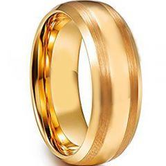 COI Gold Tone Tungsten Carbide Double Lines Ring-TG4608