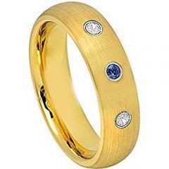 COI Gold Tone Tungsten Carbide Geunine Diamond Ring-TG4631
