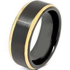 COI Tungsten Carbide Black Gold Tone Step Edges Ring - TG4684