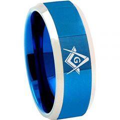 COI Tungsten Carbide Blue Silver Masonic Ring - TG4685BB