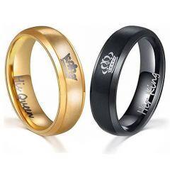 *COI Titanium King Queen Crown Beveled Edges Ring - JT4020