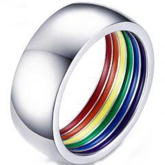 COI Titanium Rainbow Pride Dome Court Ring-5224