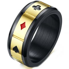 COI Titanium Black Gold Tone Aces of Spades Ring-5225