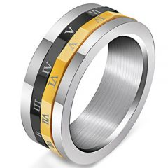 COI Titanium Black Gold Tone Roman Numerals Ring-5247