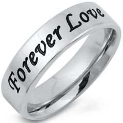 COI Tungsten Carbide Forever Love Pipe Cut Flat Ring-5251