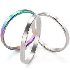COI Titanium Rainbow Pride Pipe Cut Flat Ring(A Set with 3 Rings)-5276