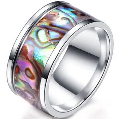 COI Titanium Ring With Abalone Shell-5278