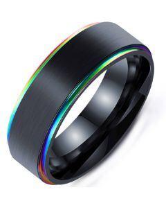 **COI Black Titanium Rainbow Pride Step Edges Ring-5283
