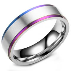 COI Titanium Rainbow Pride Step Edges Ring-5293