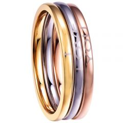 COI Titanium Rose Gold Tone Silver I Love You Dome Court Ring(A Set with 3 Rings)-5306
