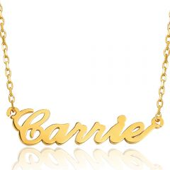 COI Gold Tone Titanium Custom Name Pendant With Stainless Steel Necklace-5309