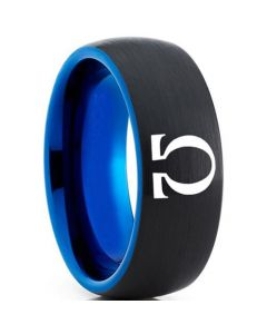 COI Tungsten Carbide Black Blue Gold of War Omega Dome Court Ring-5330