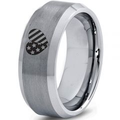 *COI Tungsten Carbide America Heart Beveled Edges Ring-5331