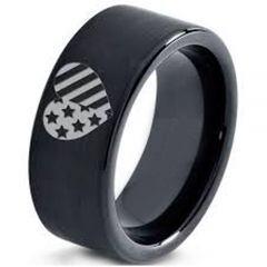 COI Black Tungsten Carbide America Heart Pipe Cut Flat Ring-5333