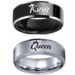 COI Tungsten Carbide King Queen Crown Beveled Edges Ring-5337