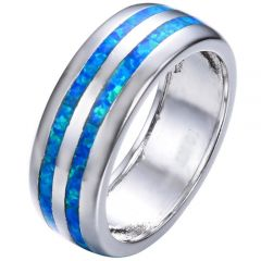 COI Titanium Crashed Opal Dome Court Ring-5350