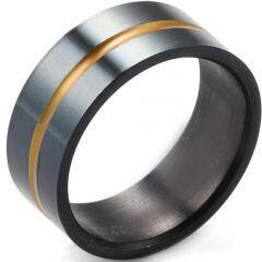 COI Titanium Black Yellow Center Groove Ring-5403