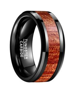 COI Black Tungsten Carbide 10mm Beveled Edges Ring With Wood-5463