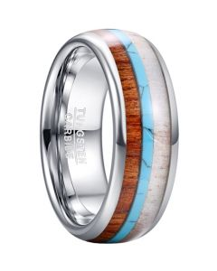 COI Tungsten Carbide Deer Antler Wood Turquoise Shell Dome Court Ring-5464