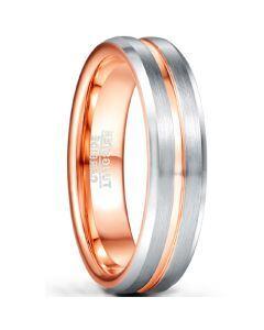COI Tungsten Carbide Rose Silver Center Groove Ring-5484