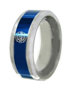 COI Tungsten Carbide Blue Silver Fire Fighter Beveled Edges Ring-5488