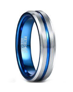 COI Tungsten Carbide Blue Silver Center Groove Ring-5490