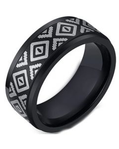 COI Black Tungsten Carbide Celtic Step Edges Ring-5495