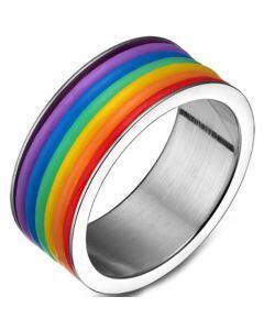 COI Titanium Gold Tone/Silver Rainbow Pride Pipe Cut Flat Ring-5503