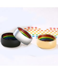 COI Titanium Silver/Black/Rose Rainbow Pride Dome Court Flat Ring-5504