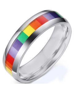 COI Titanium Rainbow Pride Dome Court Ring-5506