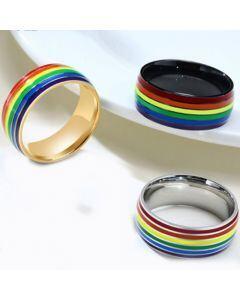 COI Titanium Black/Silver/Rose Rainbow Pride Dome Court Ring-5509