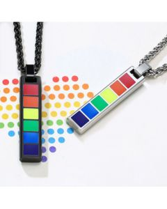 COI Titanium Black/Silver Rainbow Pride Bar Pendant-5515