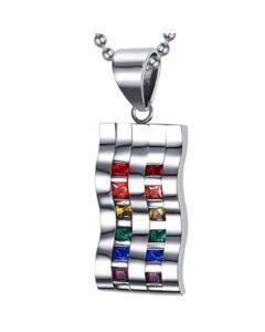 COI Titanium Rainbow Pride Pendant With Cubic Zirconia-5521