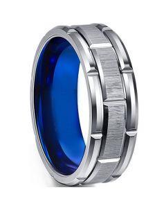 COI Titanium Blue Silver Tire Tread Brick Pattern RIng-5541