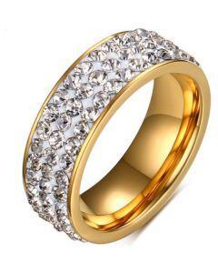 COI Gold Tone Titanium Ring With Cubic Zirconia-5564