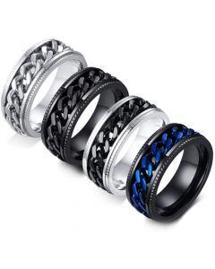 **COI Titanium Silver/Black/Silver Black/Black Blue Key Chain Ring-5566
