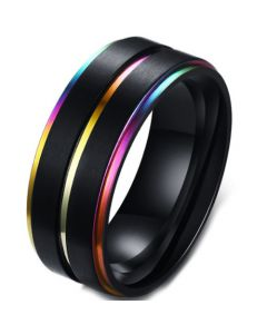 COI Black Titanium Rainbow Pride Step Edges Ring-5572
