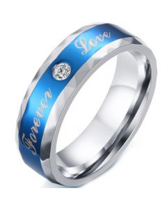 COI Titanium Blue Silver Forever Love Faceted Ring With Cubic Zirconia-5578