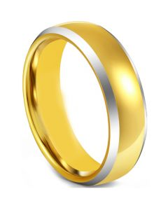 COI Tungsten Carbide Gold Tone Silver Dome Court Beveled Edges Ring-5598