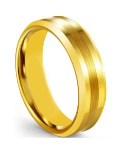 COI Gold Tone Tungsten Carbide Center Line Beveled Edges Ring-5606