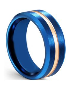 COI Tungsten Carbide Blue Rose Center Groove Beveled Edges Ring-5608
