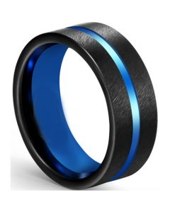 COI Tungsten Carbide Black Blue Center Groove Pipe Cut Flat Ring-5609
