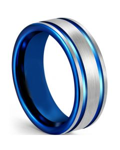 COI Tungsten Carbide Blue Silver Double Grooves Ring-5611