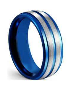 COI Tungsten Carbide Blue Silver Step Edges Ring-5614