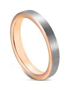 COI Tungsten Carbide Rose Silver Pipe Cut Flat Ring-5627