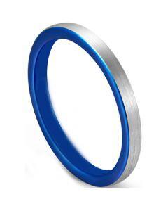 COI Tungsten Carbide Blue Silver Dome Court Ring-5628