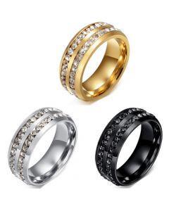 COI Titanium Silver/Gold Tone/Black Ring With Cubic Zirconia-5640